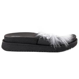 SHELOVET Papuče s krznom bijela