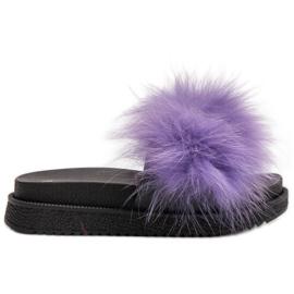 SHELOVET Papuče s krznom purpurna boja