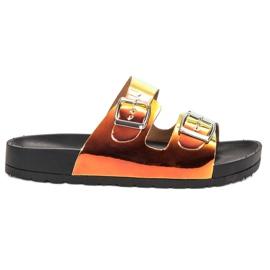 Ideal Shoes sárga Papuče s Holo Buckleom