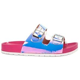 Ideal Shoes siva Papuče s Holo kopčom