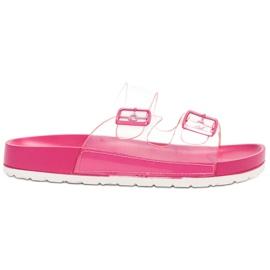 Ideal Shoes roze Prozirne zaklopke Se kopča
