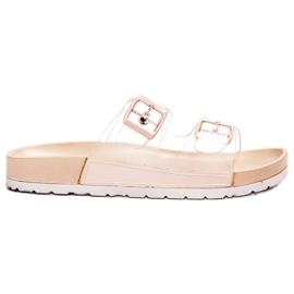 Ideal Shoes smeđ Prozirne zaklopke Se kopča