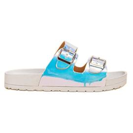 Ideal Shoes szürke Papuče s Holo Buckleom