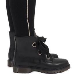 Kayla Shoes crna Crne čipkaste čizme PF276