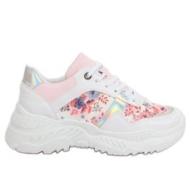 Fehér Sportska obuća s bijelim cvjetovima 3002 WHITE / FLOWER Crvena