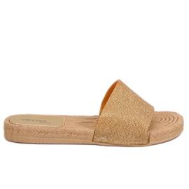 Ženske zlatne papuče JFF-V182 Zlatne žuti