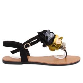 Papuče s cvijećem crne L518 crne crna