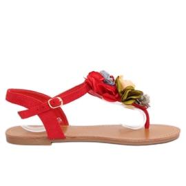 Papuče s cvijećem crvene L518 Crvene crvena