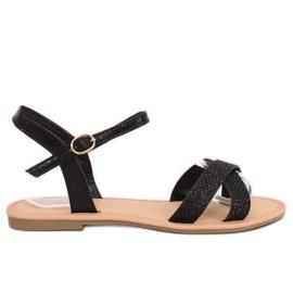 Crna Crne i crne ženske sandale WL282 Crne