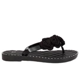 Flip flops s cvijećem crni YJL-1818 Black crna