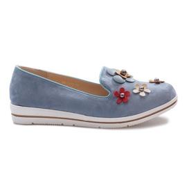 Plava Plave klizne Multi Flower klinaste potpetice