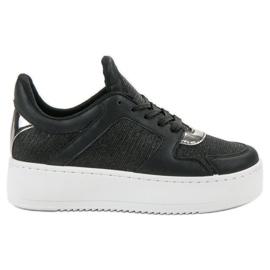Ideal Shoes crna Tenisice s brokatom