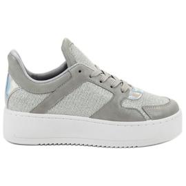 Ideal Shoes siva Tenisice s brokatom