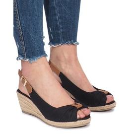 Crna Crne Zoe espadrilles klinaste sandale