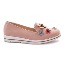 Roze Ružičaste klizne cipele s više cvijeća