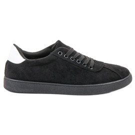 Ideal Shoes Crna čipkasta obuća