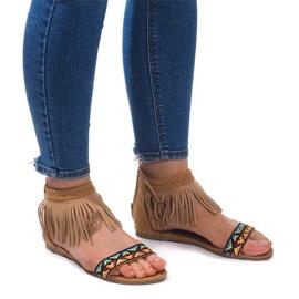 Smeđ Suede Boho sandale 3-2 Camel