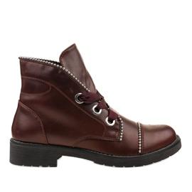 Kayla Shoes crvena Burgundske čipkaste čizme 11606-73