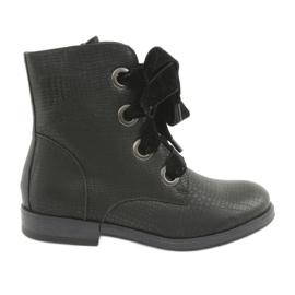 Crna Crne čipkaste čizme HFN-5505 Crne
