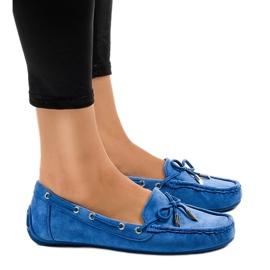Plava Plave natikače balerinke s lukom F03-3