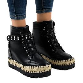 Crna Crne ženske trapezne čizme na klin AJ-547