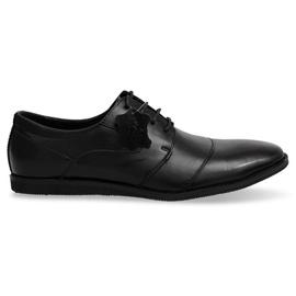 Crna Kožne čipkaste cipele LJ41 crne