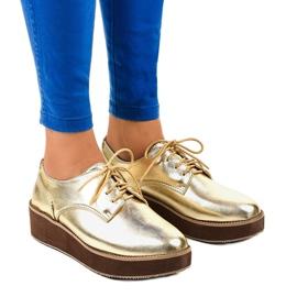 Zlatne elegantne čipkaste cipele 2017-1 žuti