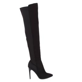 Crne čizme na visokim bedrima crne 0H010 crne crna