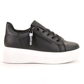 SHELOVET crna Čipkana obuća na platformi