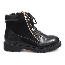 Glany čipkaste čizme 1551 crne crna