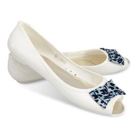 Bijela Balerinke s otvorenim nožnim sandalama 092D bijele