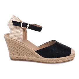 Crna Espadrilles cipele s klinom A198-3 crne