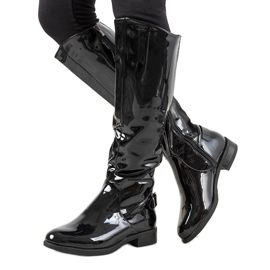 Crna Crne lakirane čizme W-90