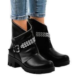 Crna Crne čizme ukrašene A-337