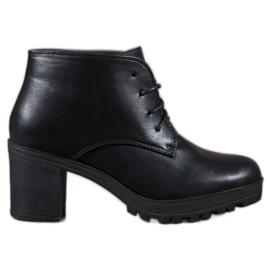 SHELOVET crna Čipkaste čizme na platformi od čipke