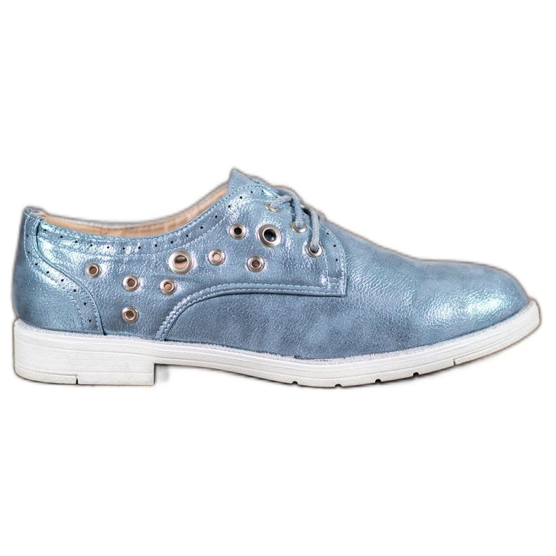 SHELOVET Vezane cipele s eko kožom plava