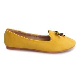 Žuti Suede balerinke s lubanjom 9988 žute boje