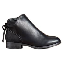 Abloom Eko kožne čizme s lukom crna