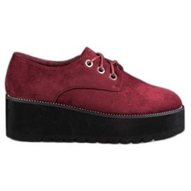 SHELOVET Suede cipele na platformi crvena