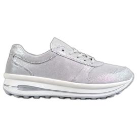 VINCEZA Glitter kožna obuća siva