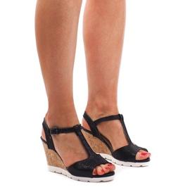 Crna Sandale s klinom YH2709 crne
