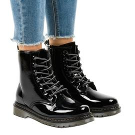 Crne čizme od lakirane kože TL142-1 crna