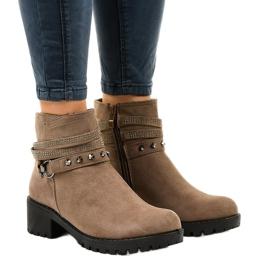 Zelene čizme za gležnjače s visokim potpeticama L3058-29