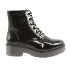 Sergio Leone 726 lakirane čipkaste čizme crna