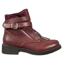 SHELOVET Burgundske cipele s patentnim zatvaračem crvena
