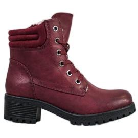 Goodin Čipkaste čizme s ovčjom kožom crvena
