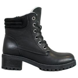 Goodin Čipkaste čizme s ovčjom kožom crna