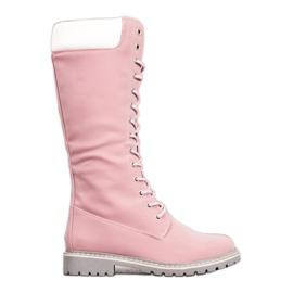 Seastar Tople čipkaste čizme roze