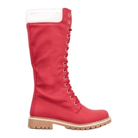 Seastar Tople čipkaste čizme crvena
