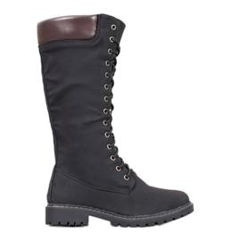 Seastar Tople čipkaste čizme crna